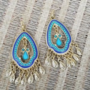 Boho Aqua Blue / Gold Beaded Drop Earrings